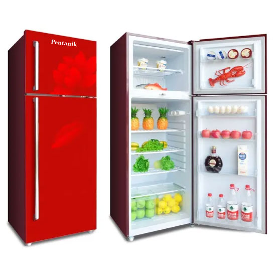 Pentanik Refrigerator 398L Glass Top-Mounted Double Door Fridge (Red)
