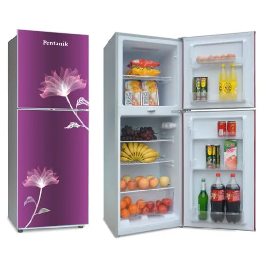 Pentanik Refrigerator 398L Glass Top-Mounted Double Door Fridge (Purple)